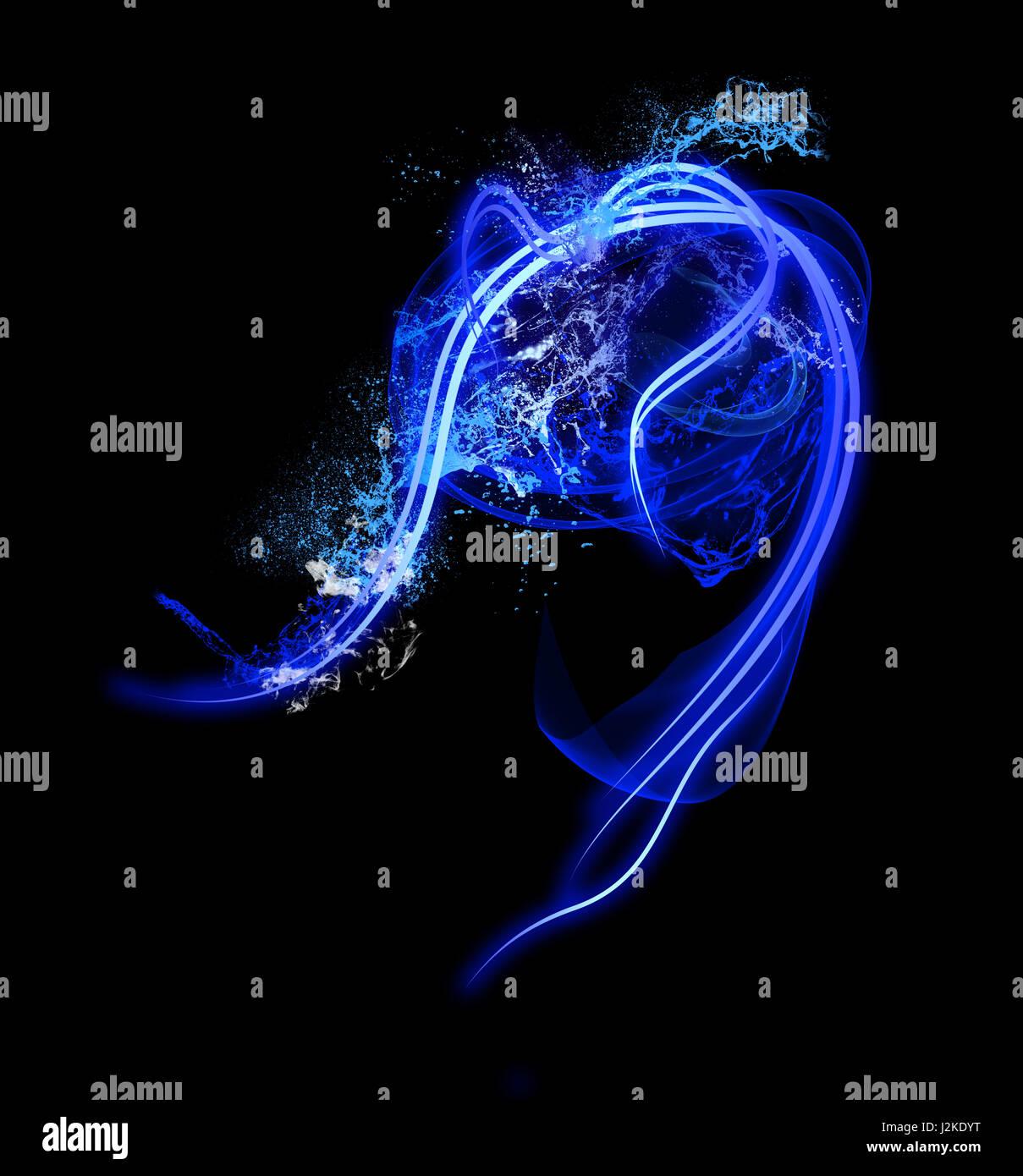 Neon-Licht Form mit Splash realistische glühende Teilchen und Wellen von hellen Linien Stockbild