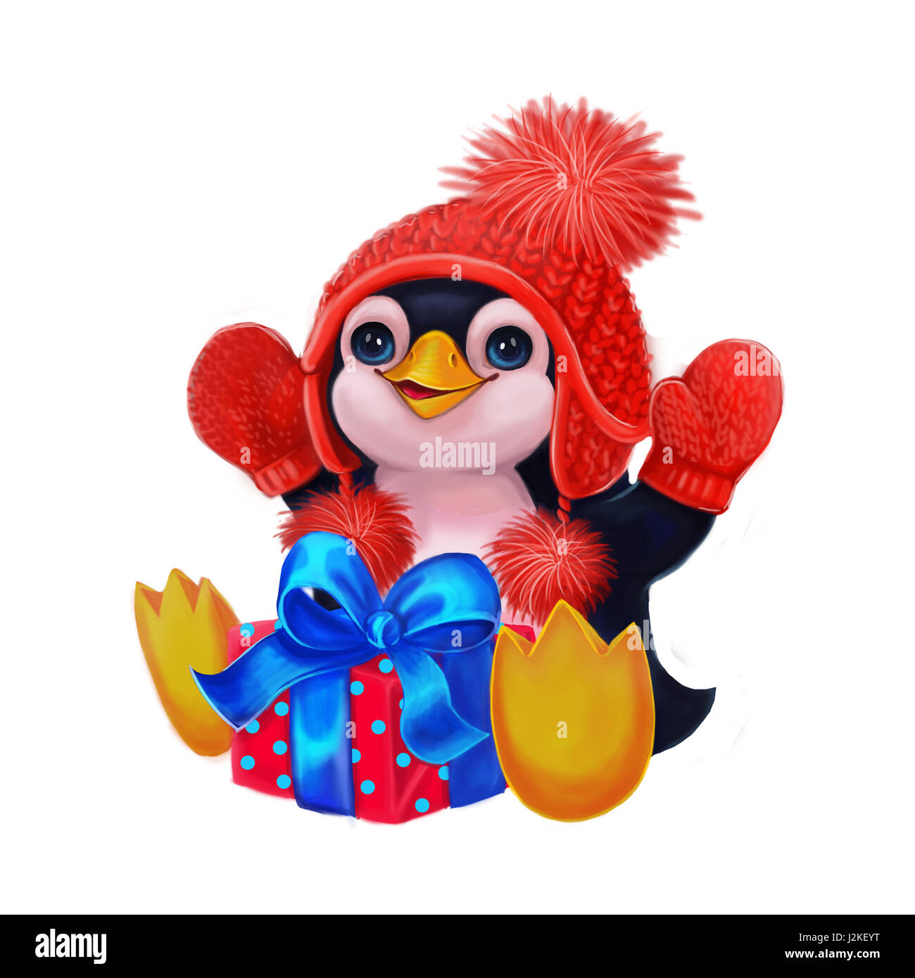 Frohe Festtage Mit Kleinen Pinguin Lustigen Charakter Feiern