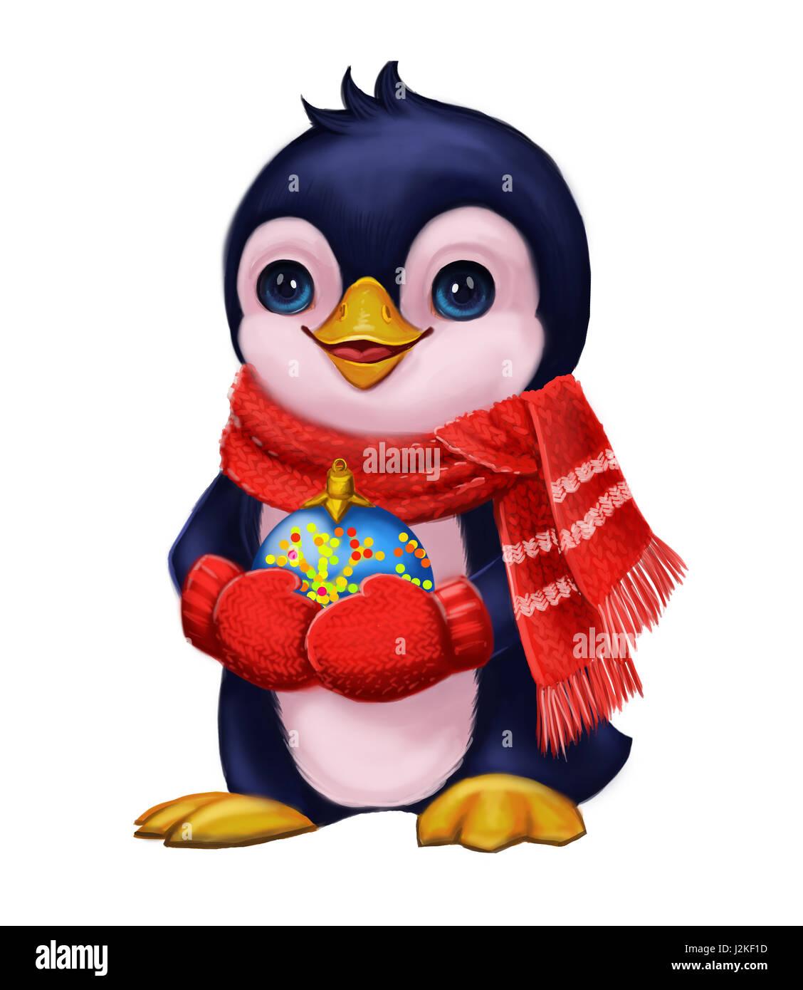 Weihnachts-und Neujahrsgrüße mit niedlich kleinen Pinguin lustigen ...