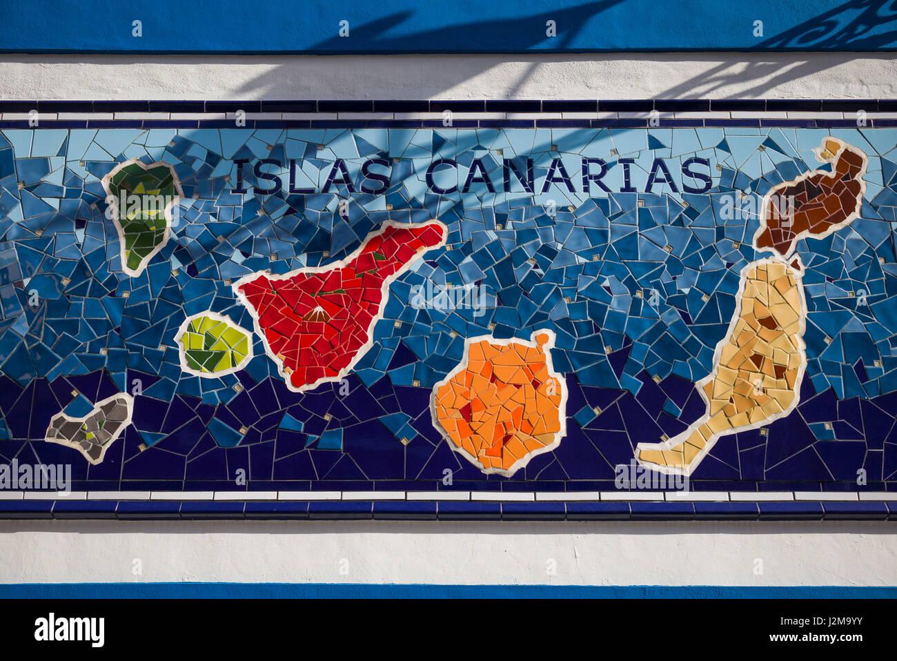 Teneriffa Karte Spanien.Kanarische Inseln Karte Stockfotos Kanarische Inseln Karte Bilder