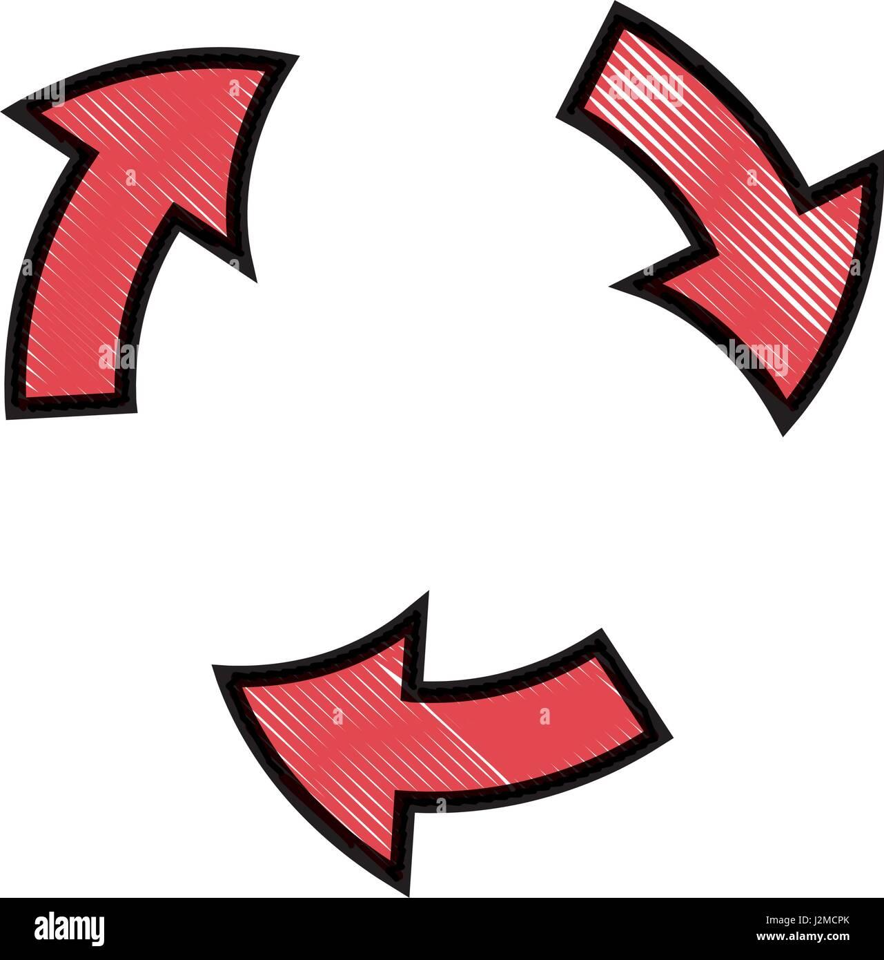Zeichnung Pfeile Drehung Symbol Prozessgestaltung Stockbild