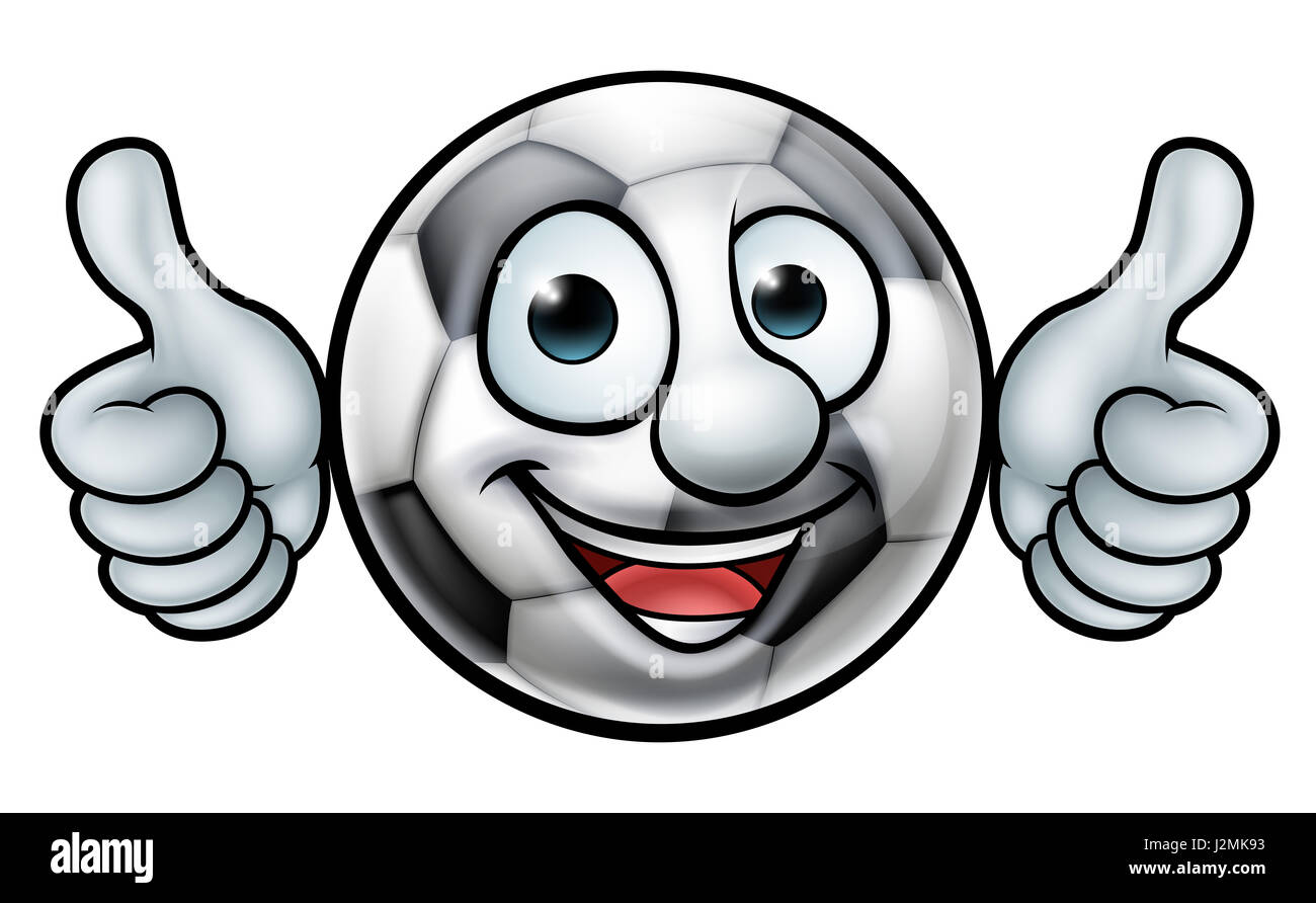 Ein Fussball Fussball Ball Cartoon Sport Maskottchen Stockfoto