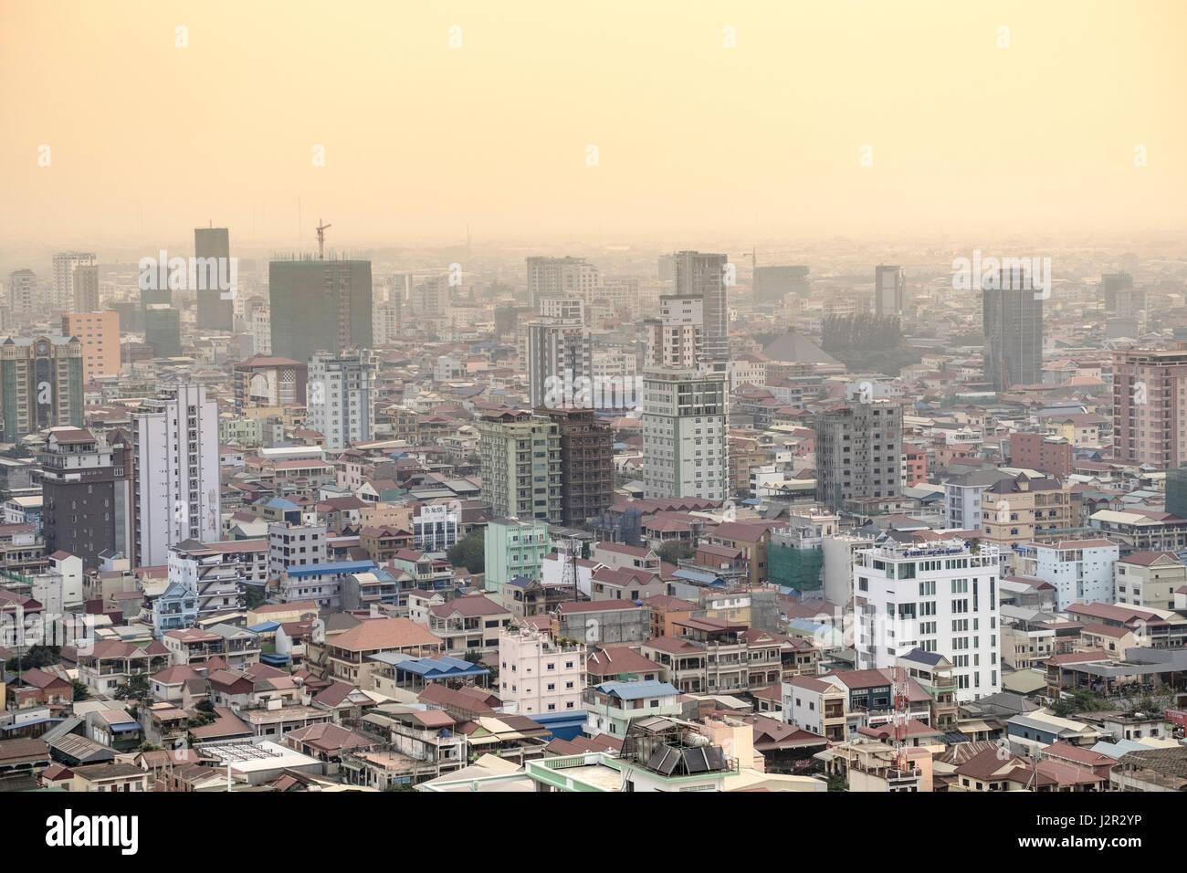 Phnom Penh Stadtzentrum und Skyline - Kambodscha Hauptstadt Stockbild