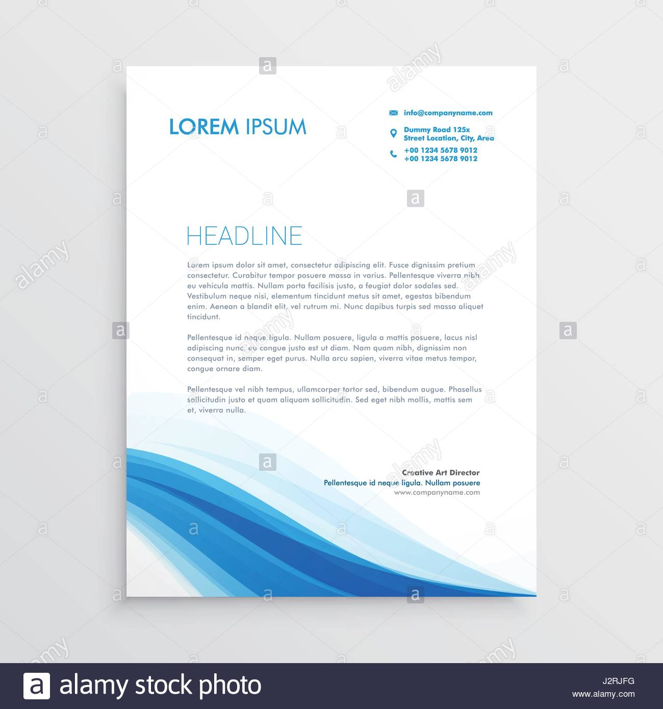 Kreative Blaue Gewellte Form Briefkopf Design Vektor Abbildung