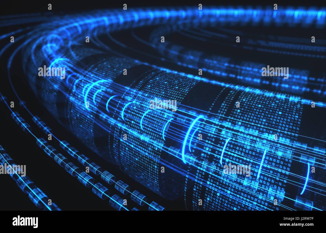 3D Illustration, abstrakten Hintergrund, Technologie-Konzept. Binäre Rohre und Verbindungen. Stockbild