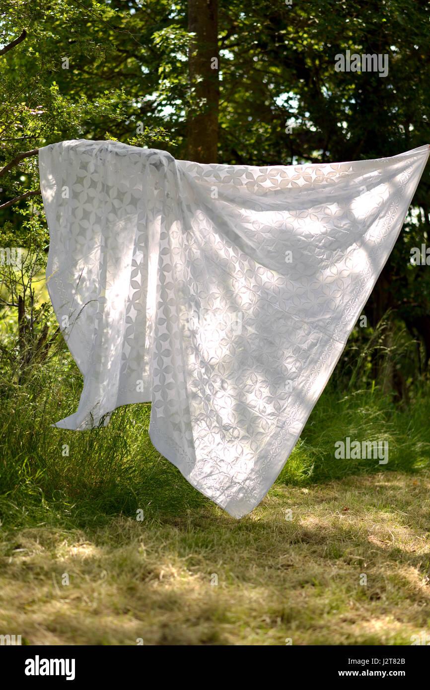 Weißen Tisch Tuch/Wurf draußen im wind Stockbild