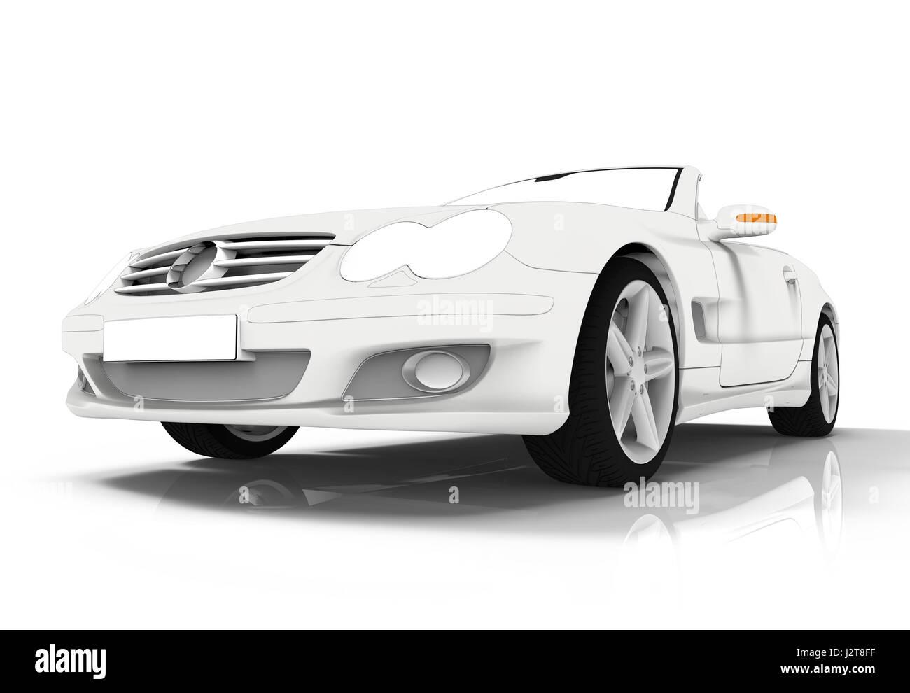 3D-Rendering eines brandless generische weiße Toon Autos Stockbild
