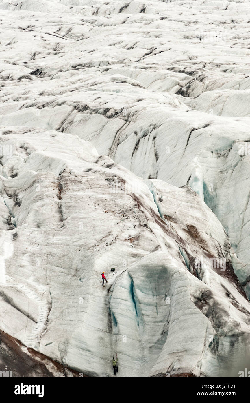 Wanderer Klettern einen Gletscher, Eiskappe, Svinafellsjokull, Steckdose Gletscher Vatnajökull Gletscher, Island. Stockbild