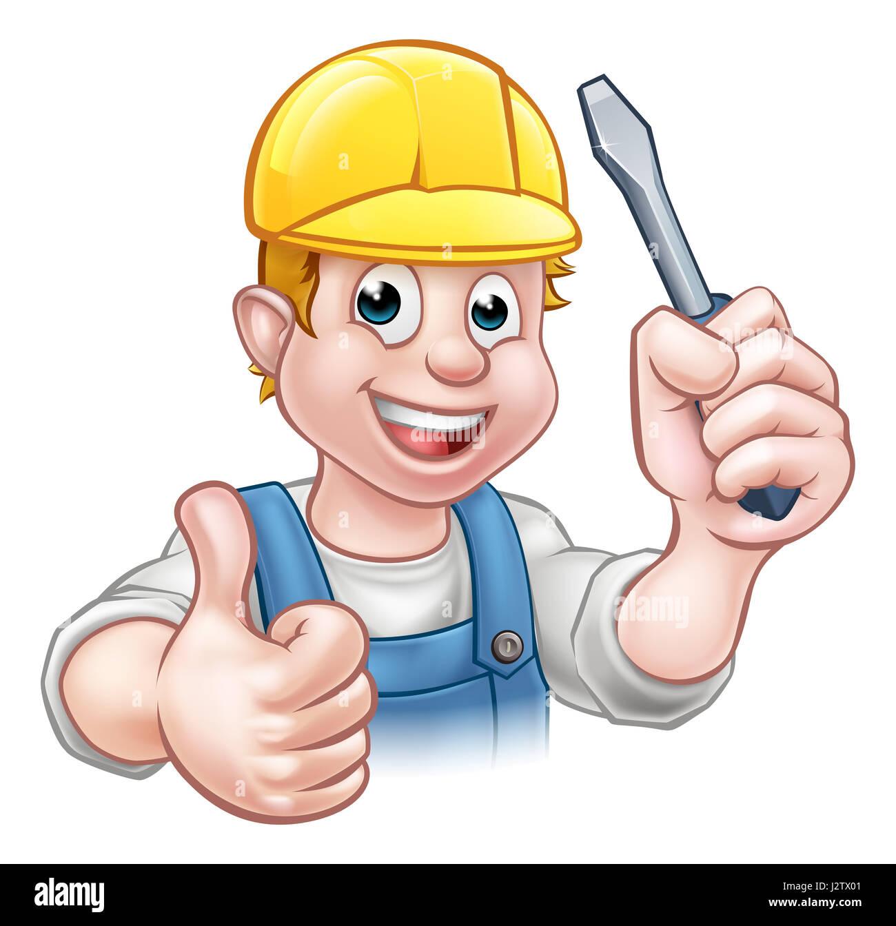 Ein Elektriker Handwerker Cartoon-Figur hält einen Schraubenzieher ...