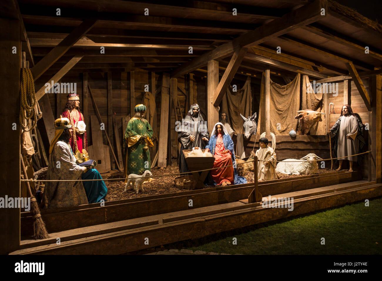 Krippen-Szene Jungfrau Maria Joseph Jesus weisen Hirten Rinder ...