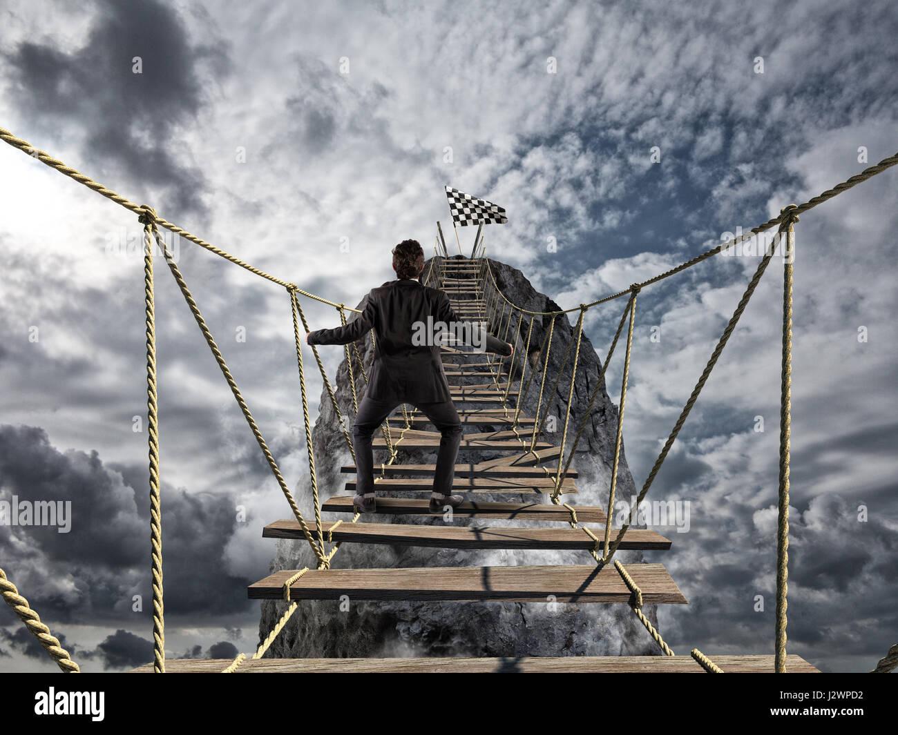 Der Erfolg mit schwierig zu erreichen. Geschäftsziel erreichen und schwierigen beruflichen Konzept Stockbild