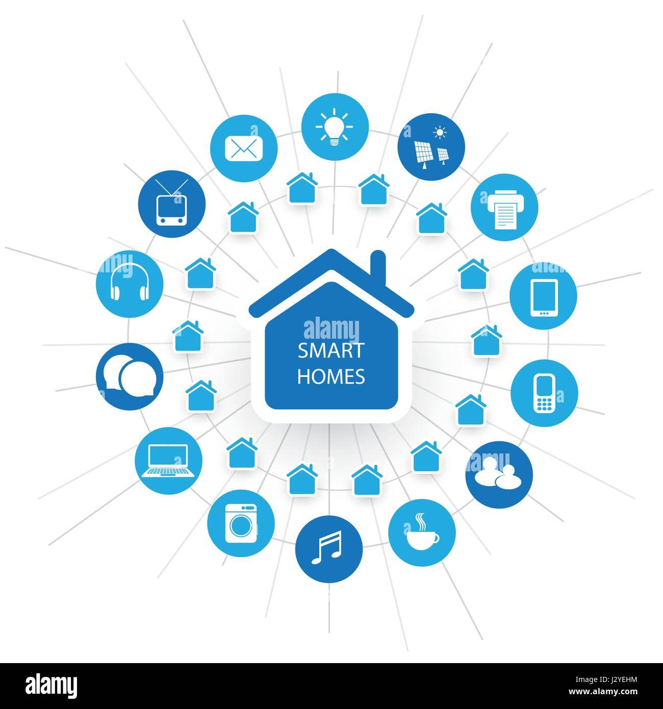 Eco-Friendly-Smart-Home Design-Konzept mit Symbolen - Cloud ...