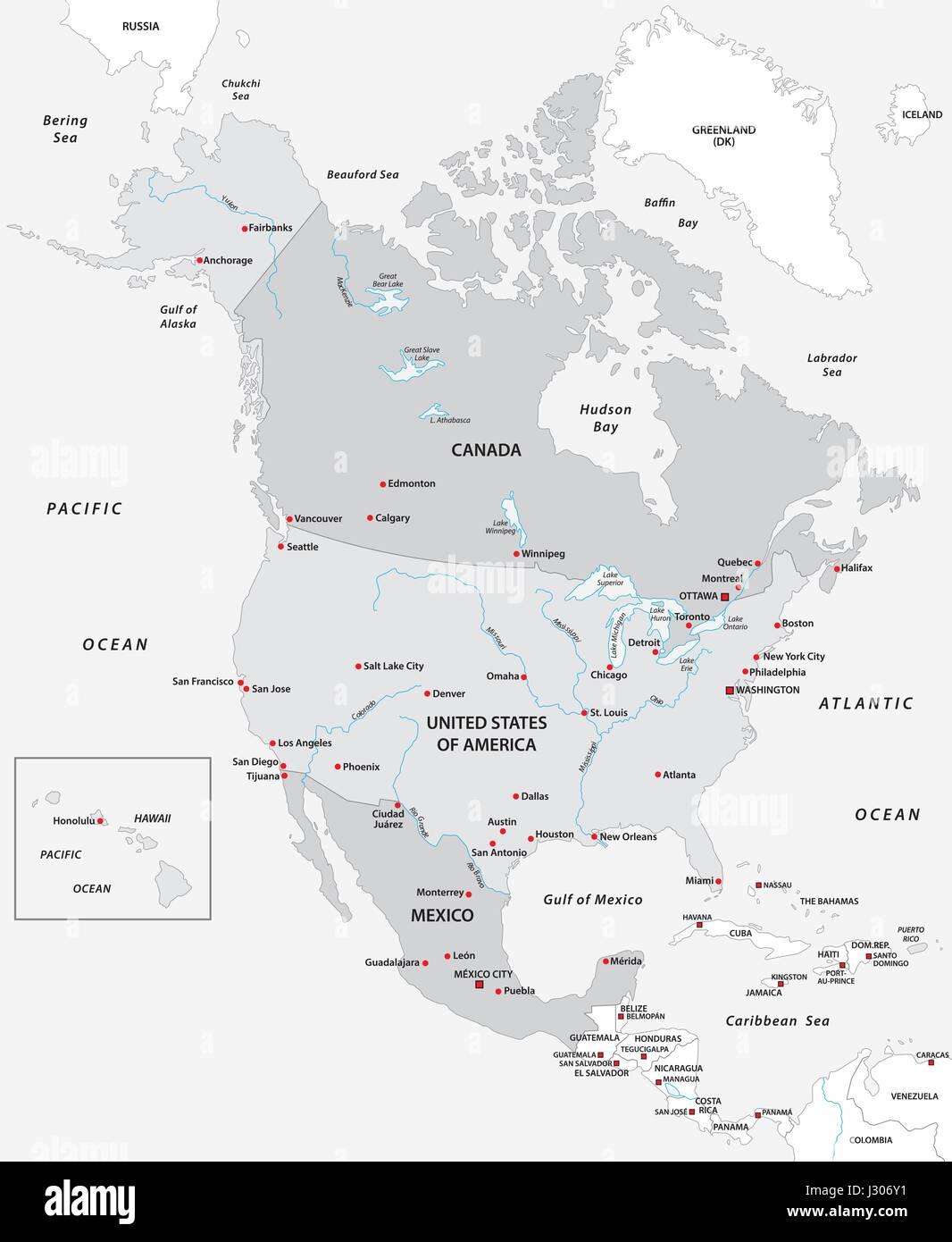 Amerika Karte Schwarz Weiß.Karte Von Nordamerika In Schwarz Weiß Vektor Abbildung Bild