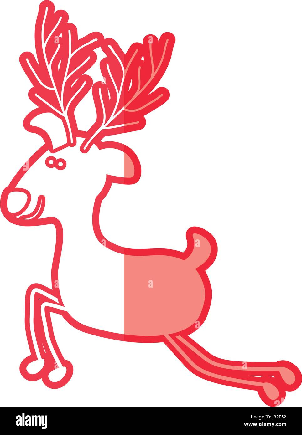 Red Silhouette Caricature Reindeer Stand Stockfotos & Red Silhouette ...