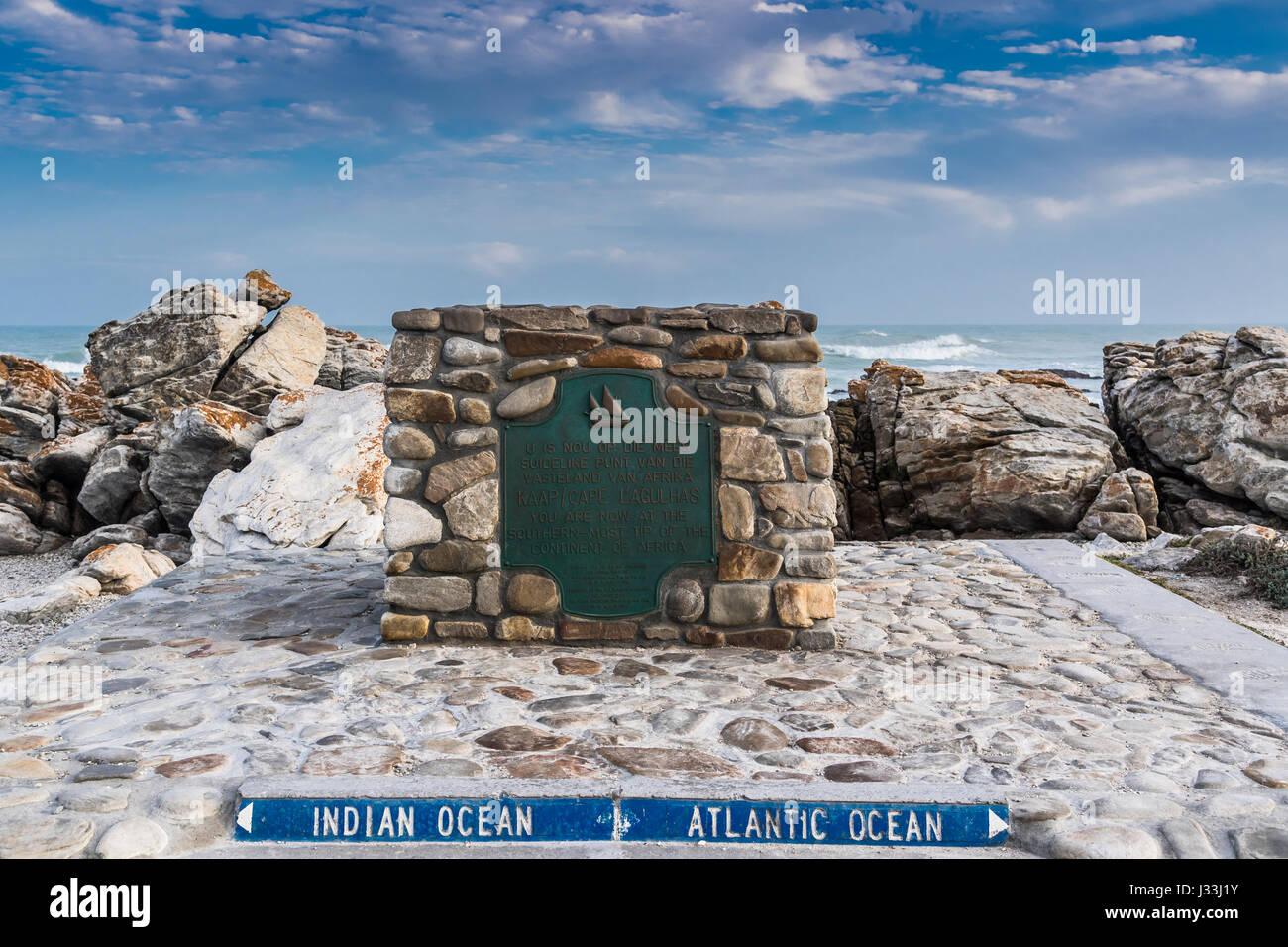 Landmarke, Südlichster Punkt von Afrika, Kap Agulhas, Westkap, Südafrika,   Wahrzeichen, Souther Zipfel Stockbild