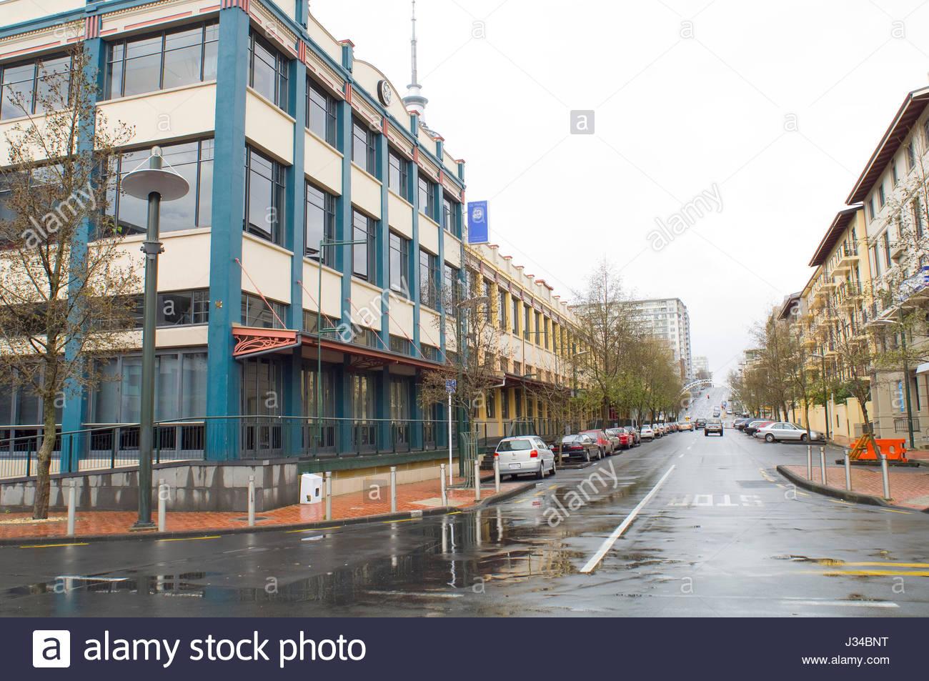Blick nach Süden bis Marktplatz von Customs Street West, Auckland, Northland, Nordinsel, Neuseeland Stockfoto