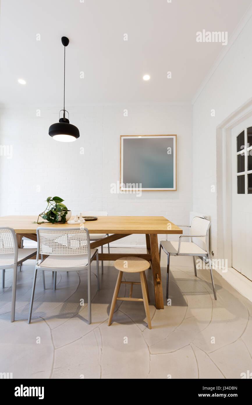 Modernen Skandinavischen Stil Innen Esszimmer Mit Pendelleuchte In
