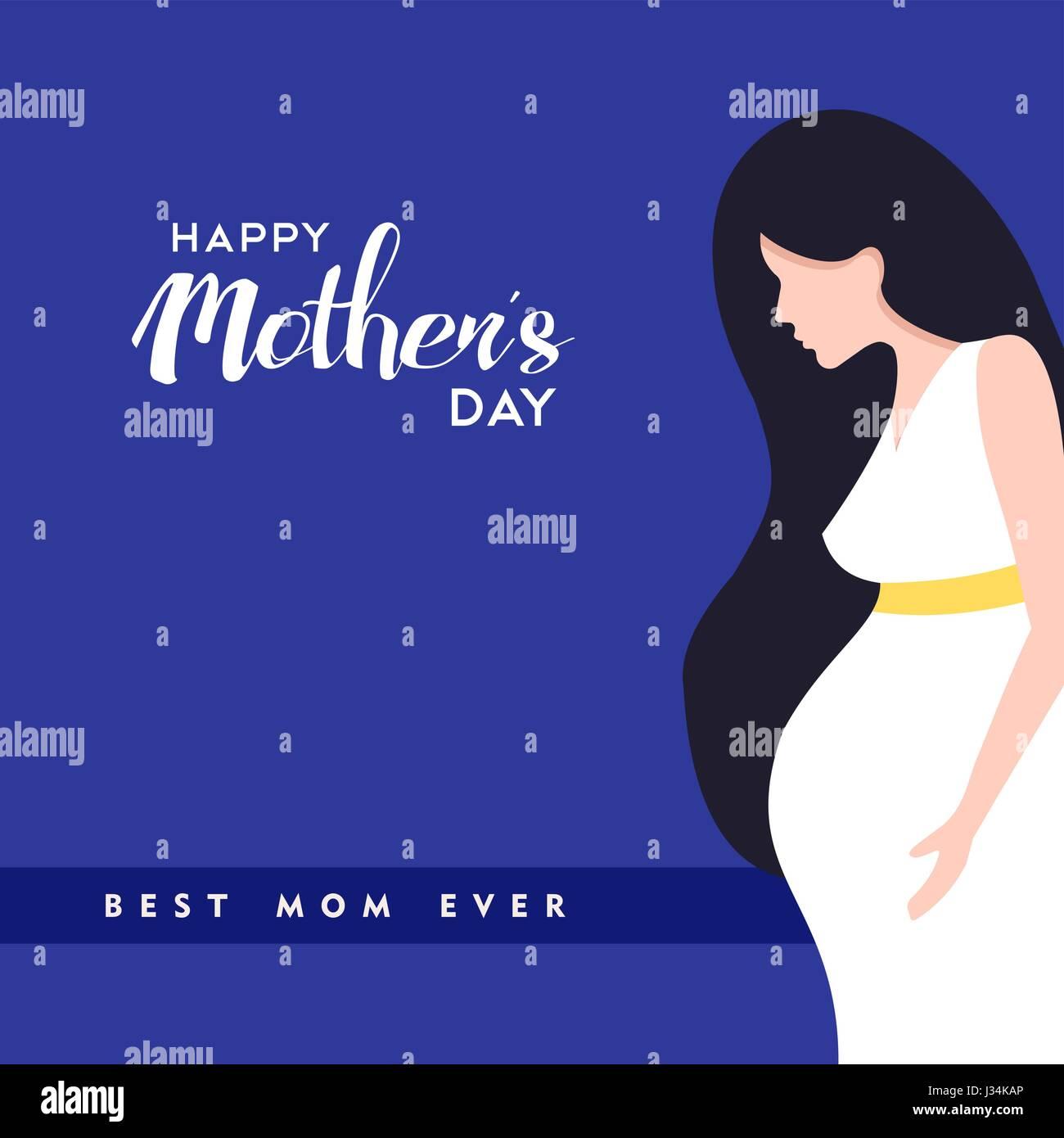 Glückliche Mütter Tag Abbildung Schwangere Frau Mit Mama