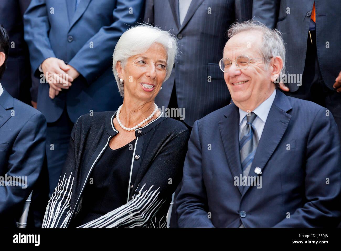 Internationaler Währungsfonds, Geschäftsführer, Christine Lagarde, und italienische Minister für Stockbild
