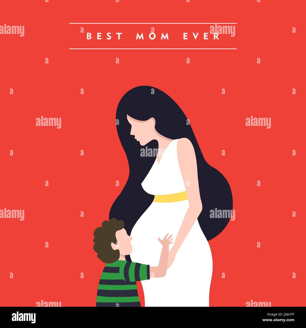 Glückliche Mütter Tag Illustration, schwangere Frau mit Sohn und ...