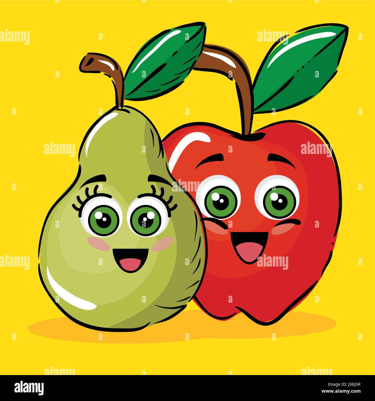 birne und apfel obst comic figuren vektor abbildung bild 139673207 alamy. Black Bedroom Furniture Sets. Home Design Ideas