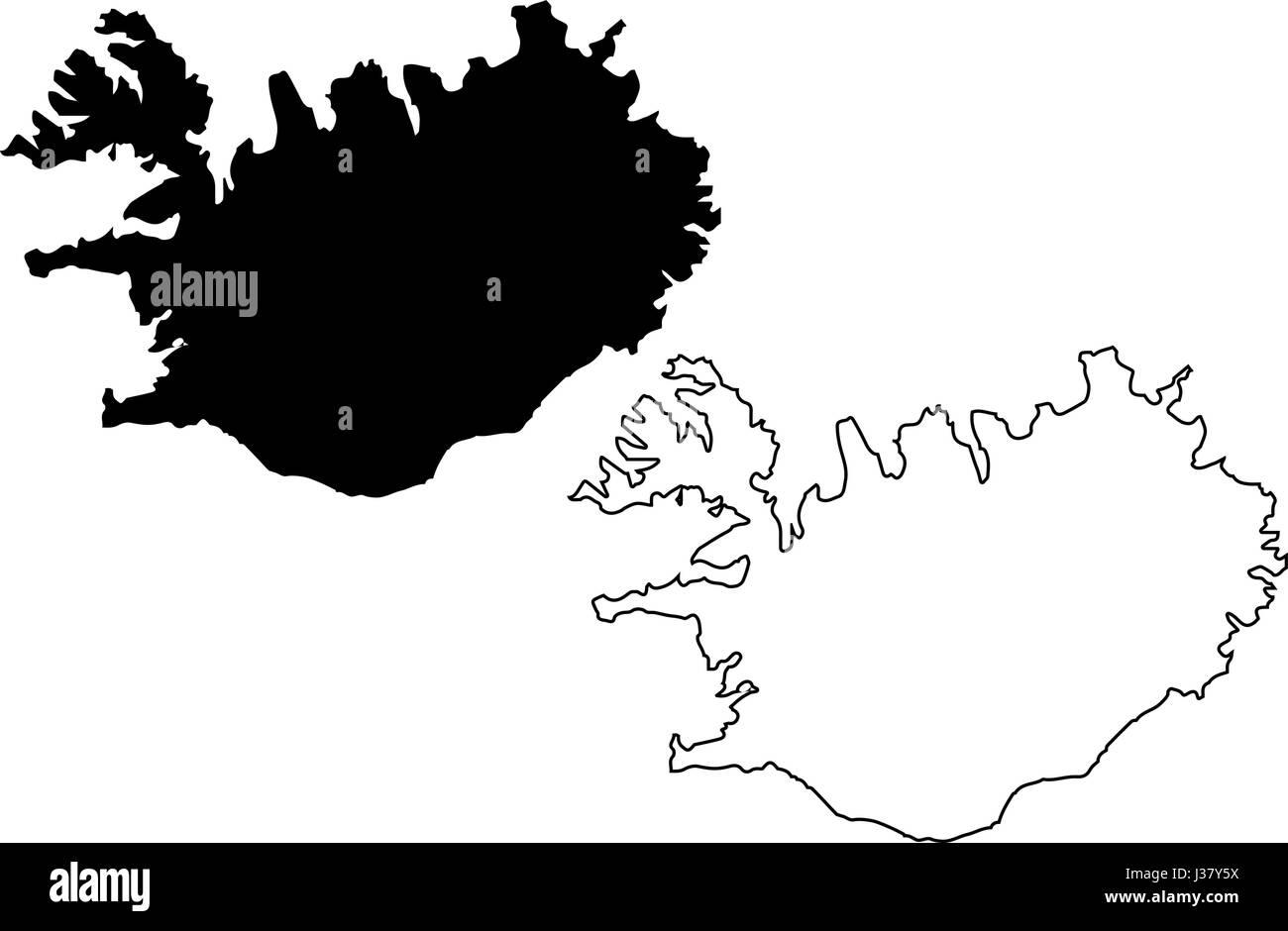 Iceland Map Vector Stockfotos & Iceland Map Vector Bilder ...