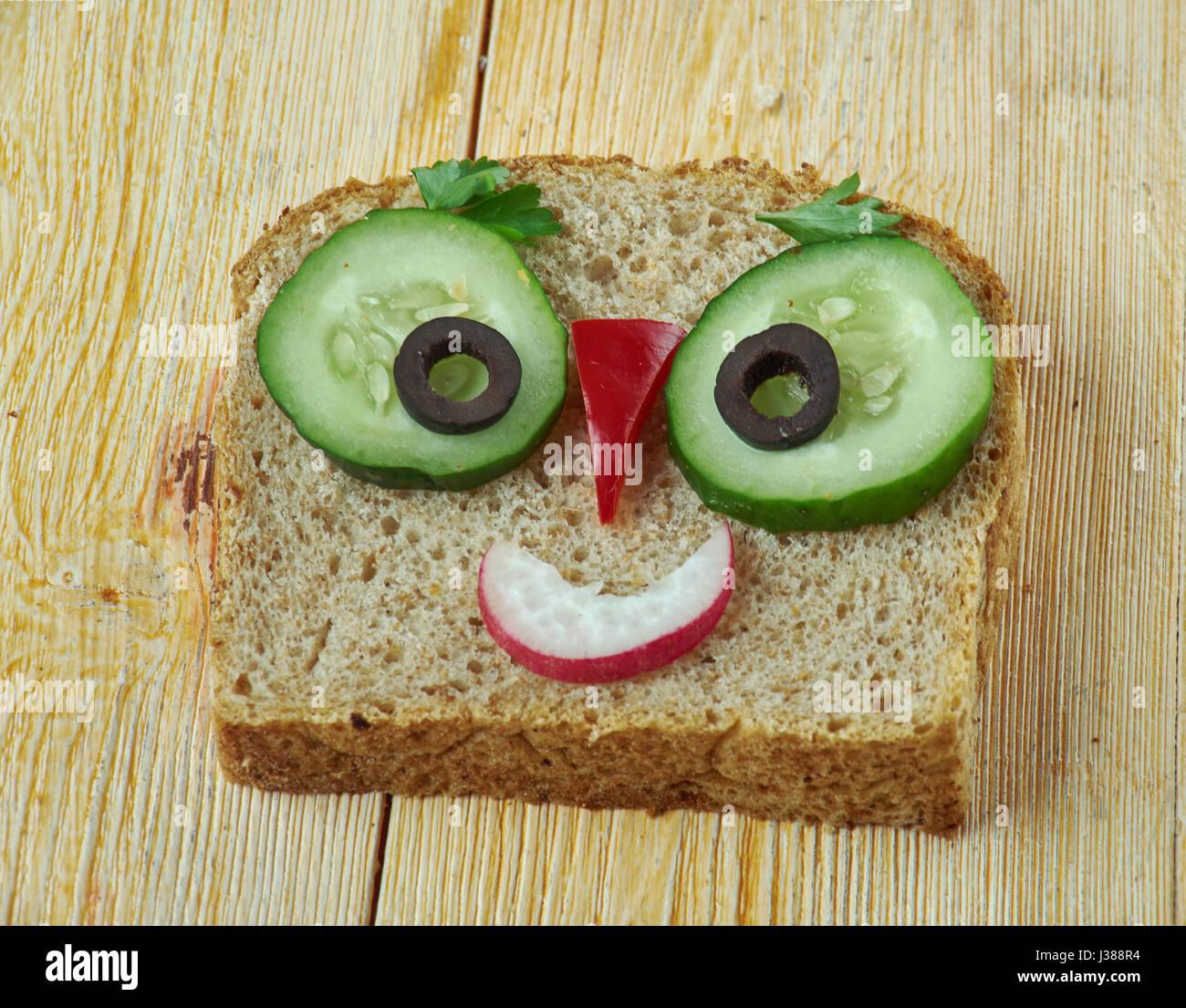 kreative Küche Konzept - lustige Sandwich für Kinder Mann gemacht ...