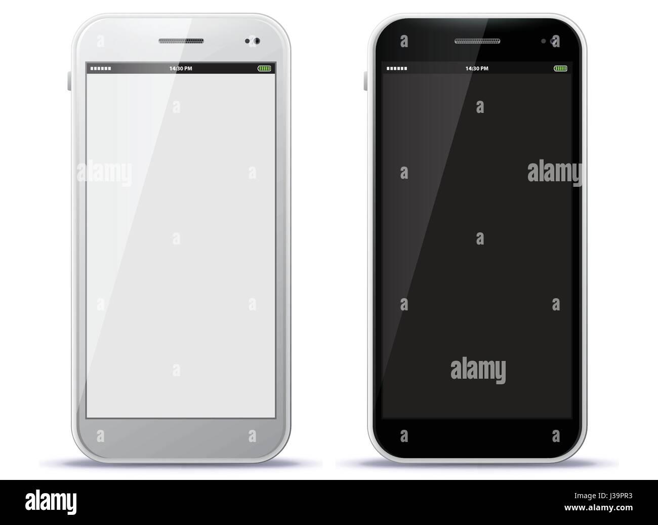 Weiß und Schwarz Handy Vector Illustration Stockbild