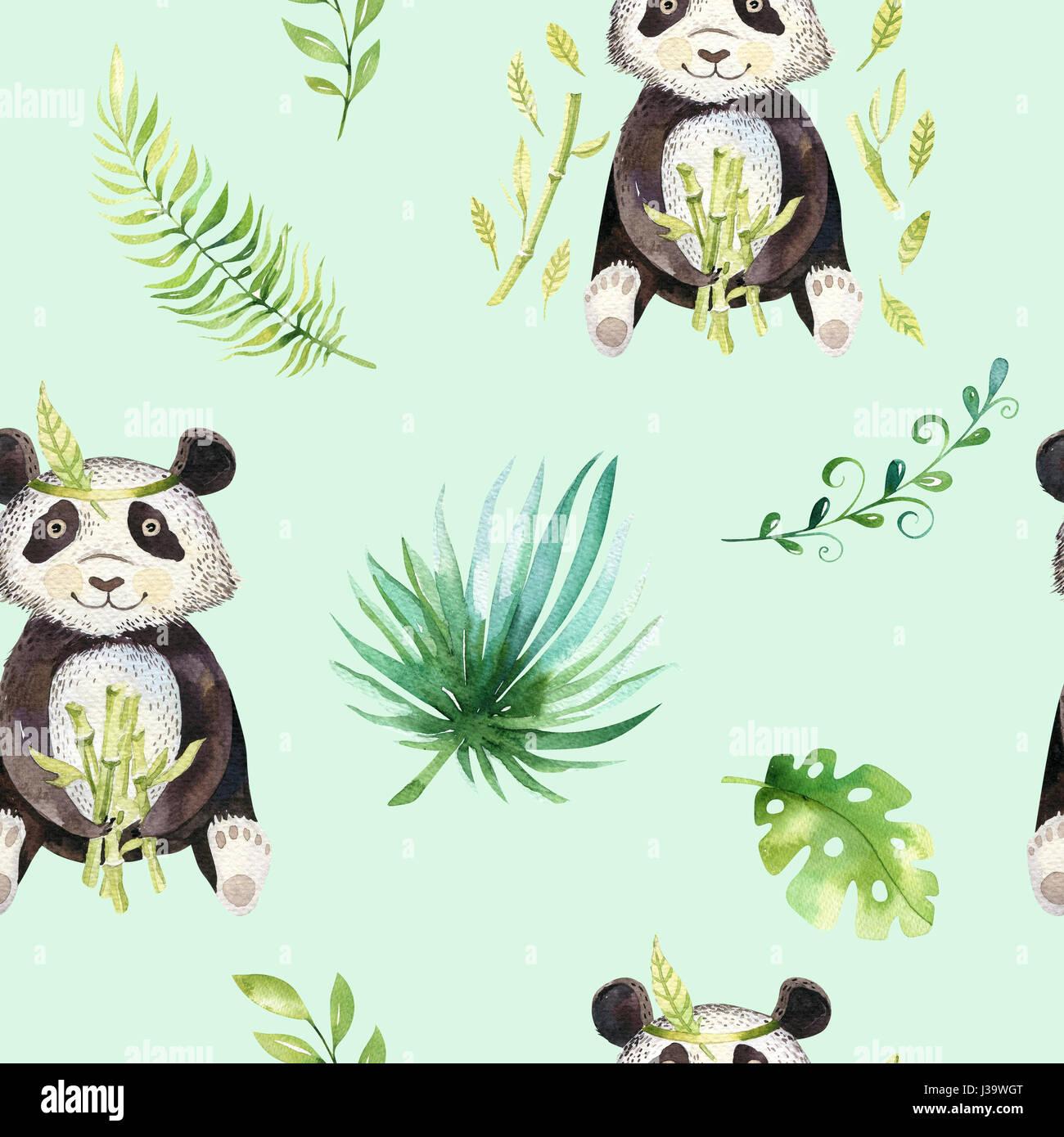 Baby Tiere Kindergarten Isoliert Musterdesign Aquarell Boho