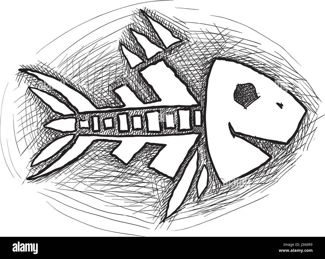 schwarzen Fischgräte Vektor Abbildung - Bild: 139747085 - Alamy