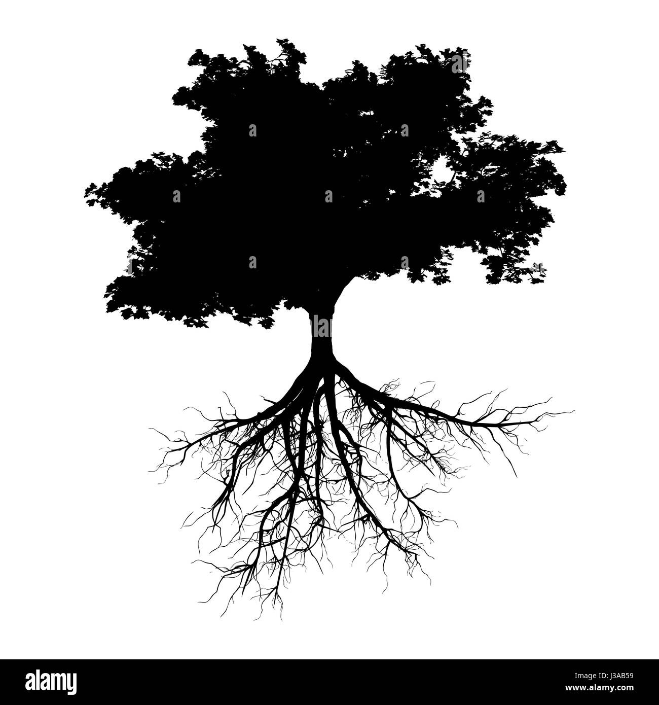 black tree silhouette illustration roots stockfotos black tree silhouette illustration roots. Black Bedroom Furniture Sets. Home Design Ideas