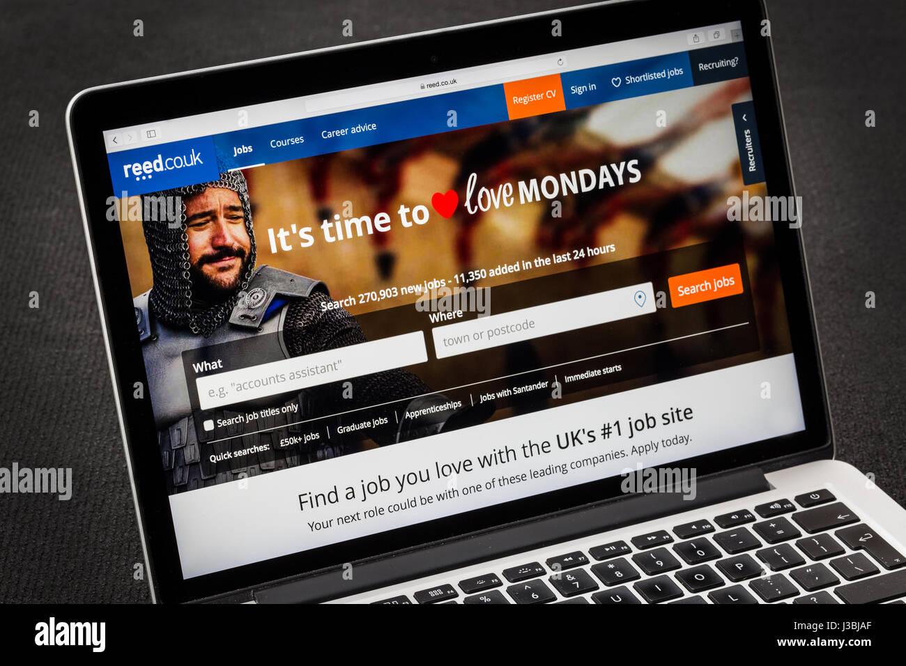 Reed-Website für die Suche nach Jobs online Stockbild