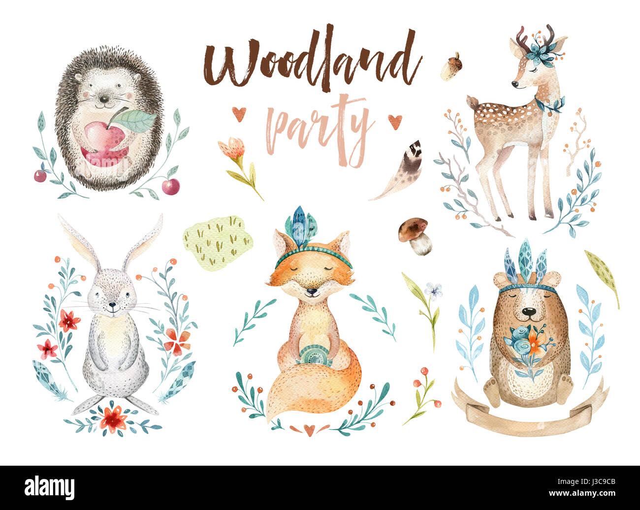 Niedlichen baby fuchs reh tierkindergarten hase und b r isoliert illustration f r kinder - Poster fur kinderzimmer ...