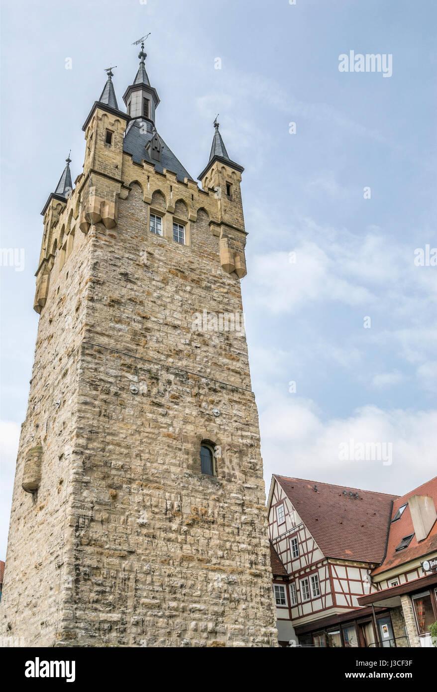Der blaue Turm in der mittelalterlichen Stadt Bad Wimpfen, Baden-Württemberg GmbH, Deutschland Stockbild