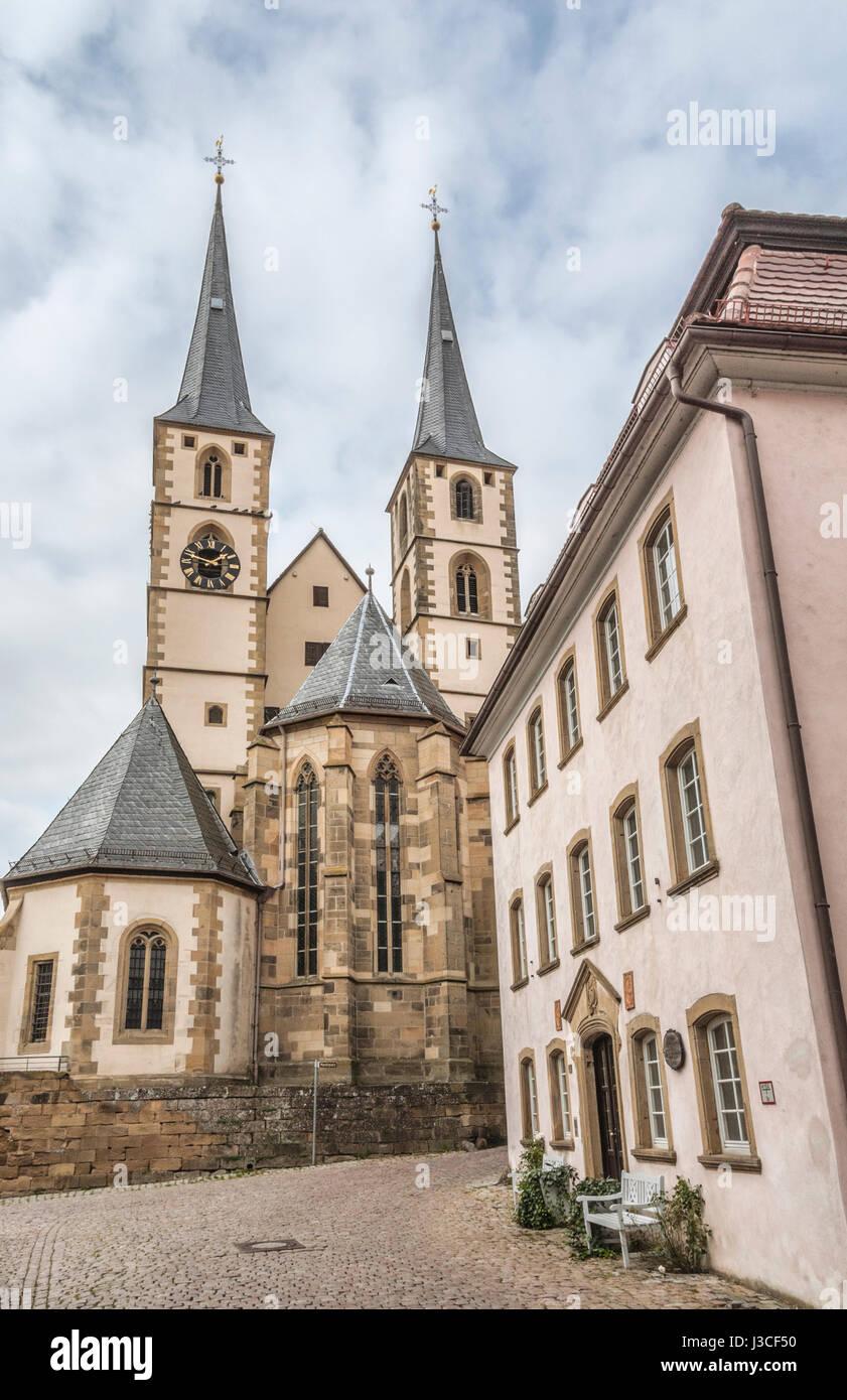 Der evangelischen Kirche in der mittelalterlichen Stadt Bad Wimpfen, Deutschland Stockbild