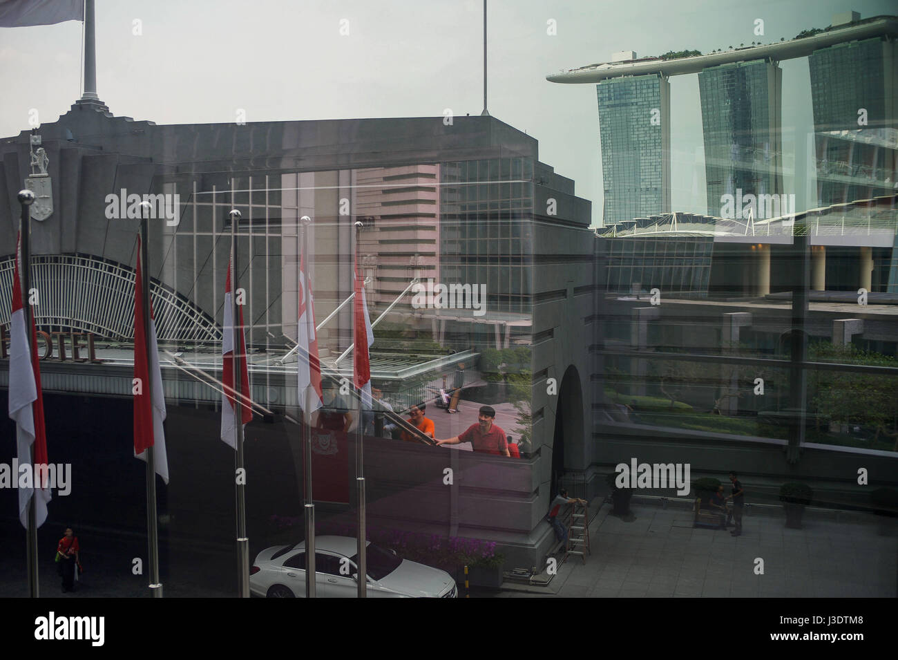 Singapur. 2016. Blick auf Marina Bay Stockbild
