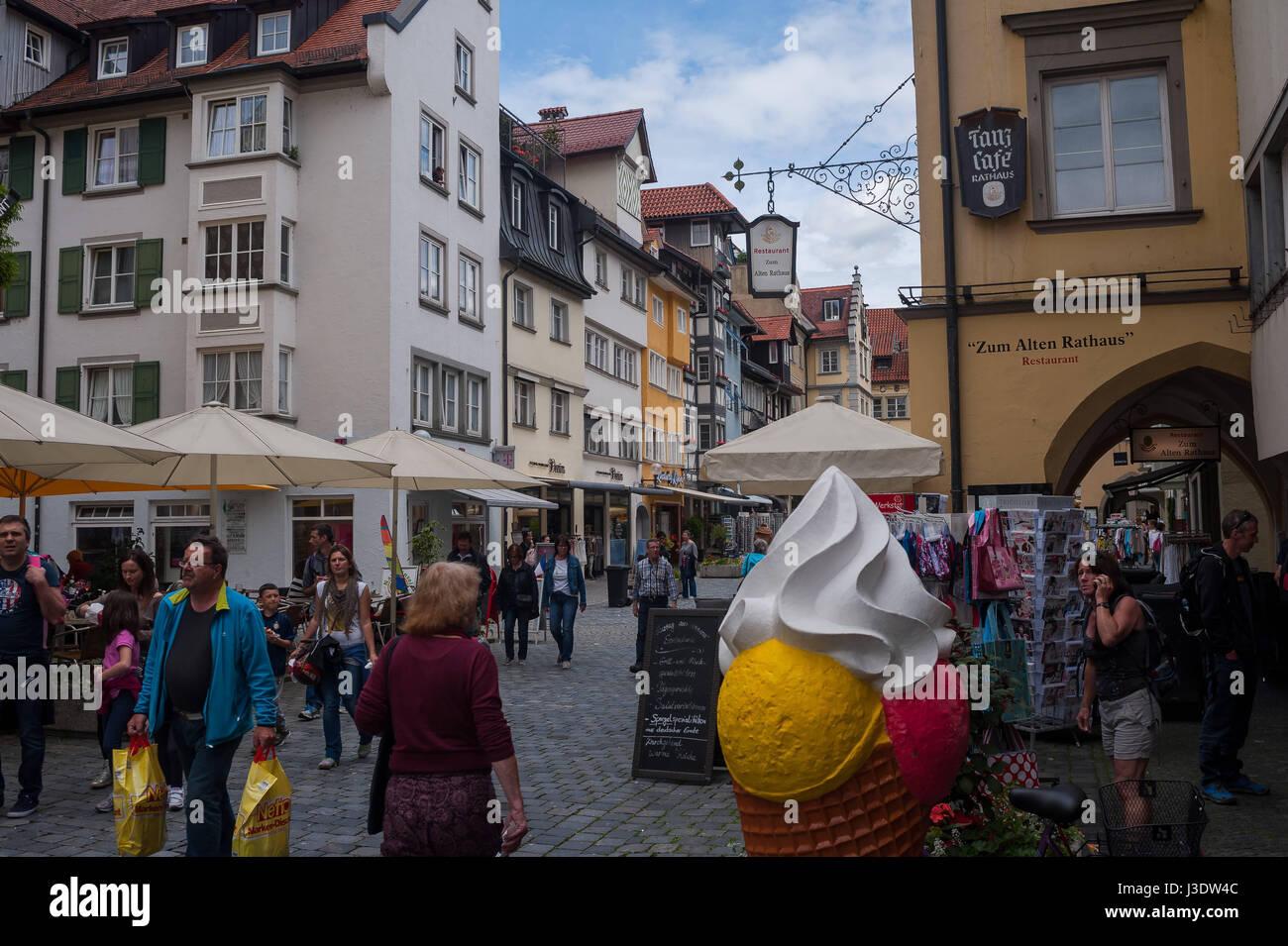 Lindau, Deutschland, 2016, Lindaus Fußgängerzone Stockbild