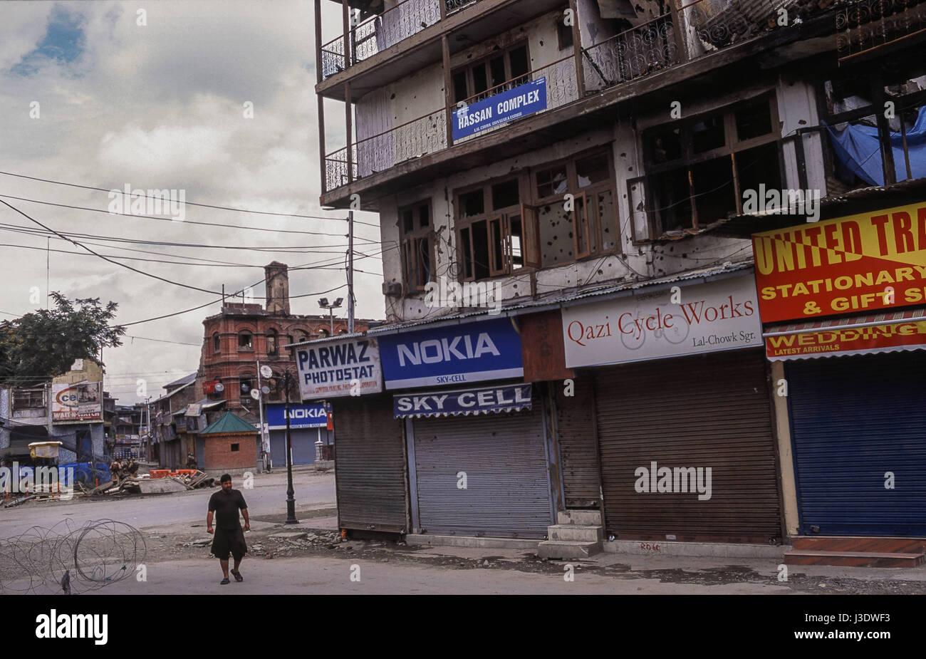 Srinagar, Jammu und Kaschmir, Indien, 2010, Ausgangssperre in Srinagar Stockbild