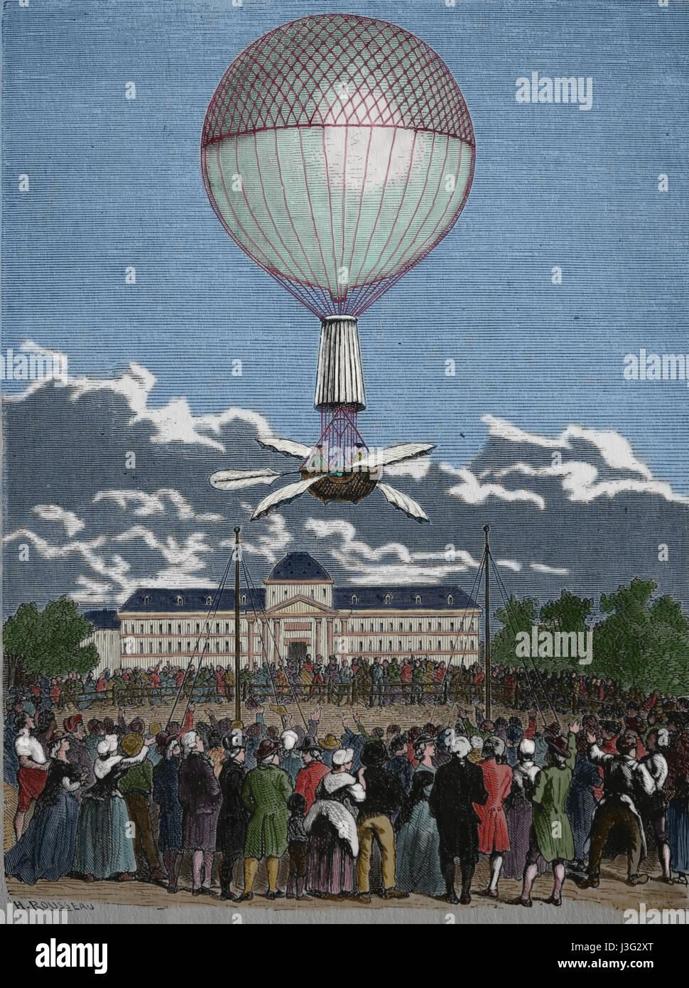 Die erste erfolgreiche Ballonfahrt von Jean-Pierre Francois Flanchard (1753-1809). Wasserstoff-Gas-Lauched aus dem Champ de Mars, Paris, Frankreich, 2. März Stockfoto