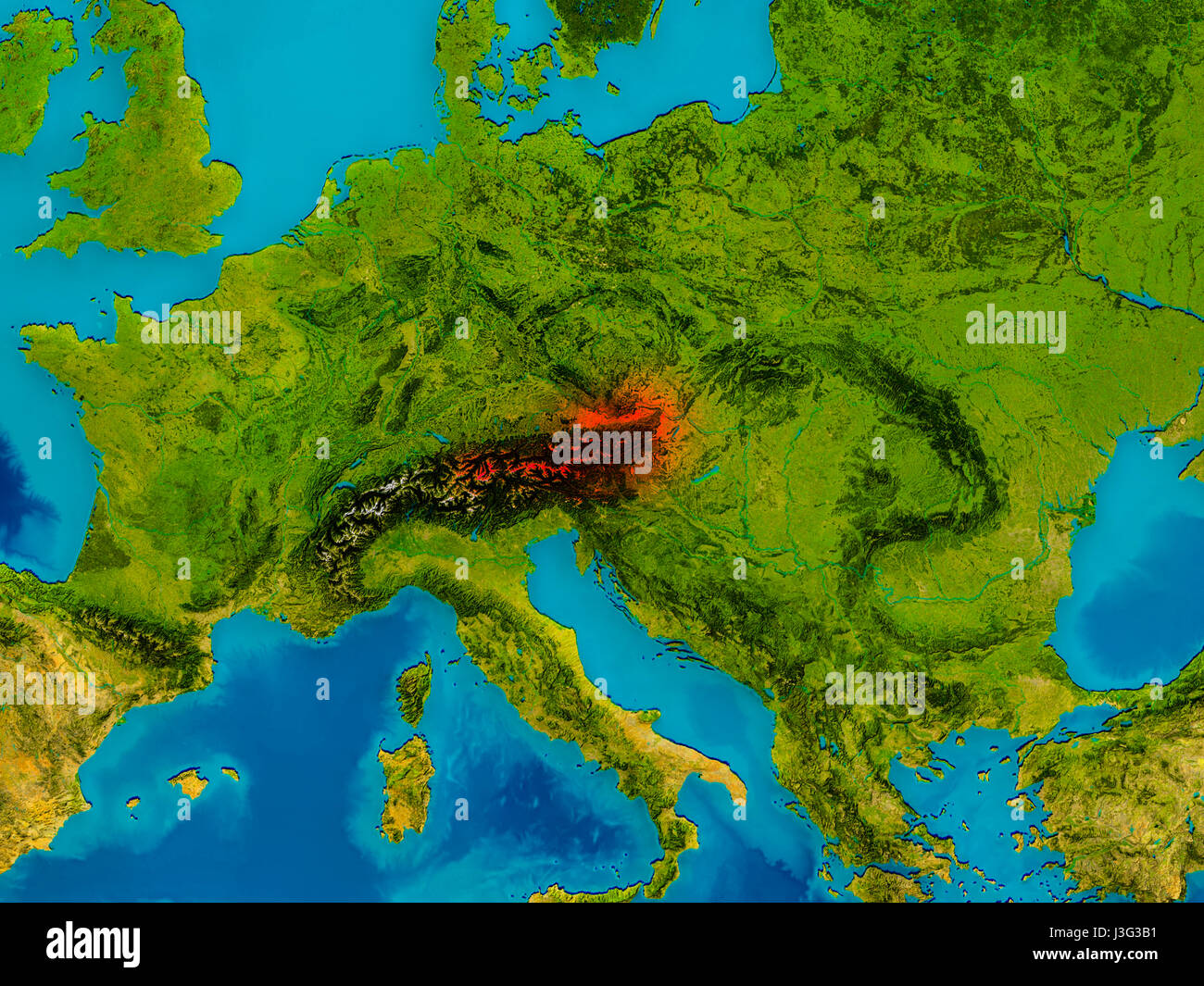 Osterreich Auf Physische Karte Rot Hervorgehoben 3d Illustration
