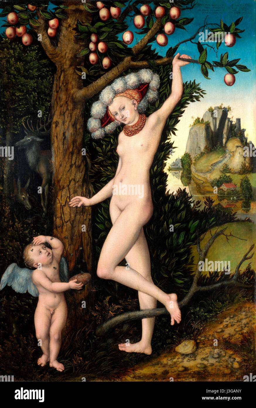 Amor beschweren sich Venus - Lucas Cranach der ältere - 1525 Stockbild