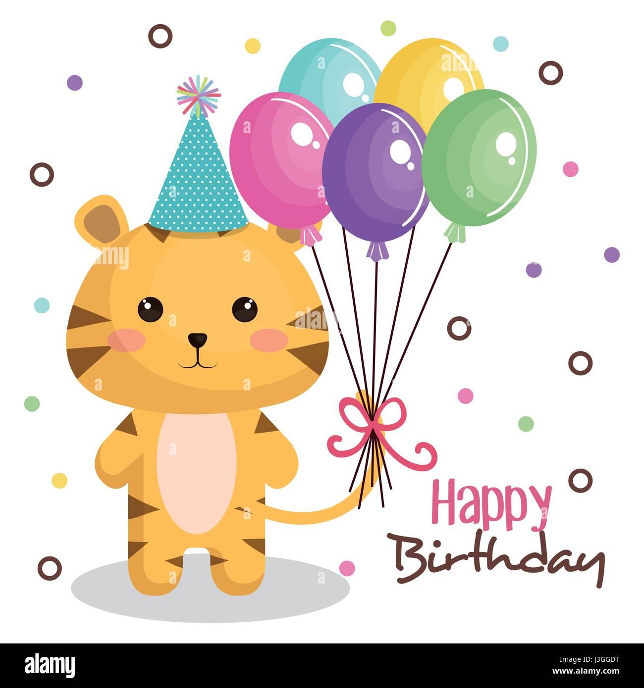 alles Gute zum Geburtstagskarte mit zarten Tier Stockbild