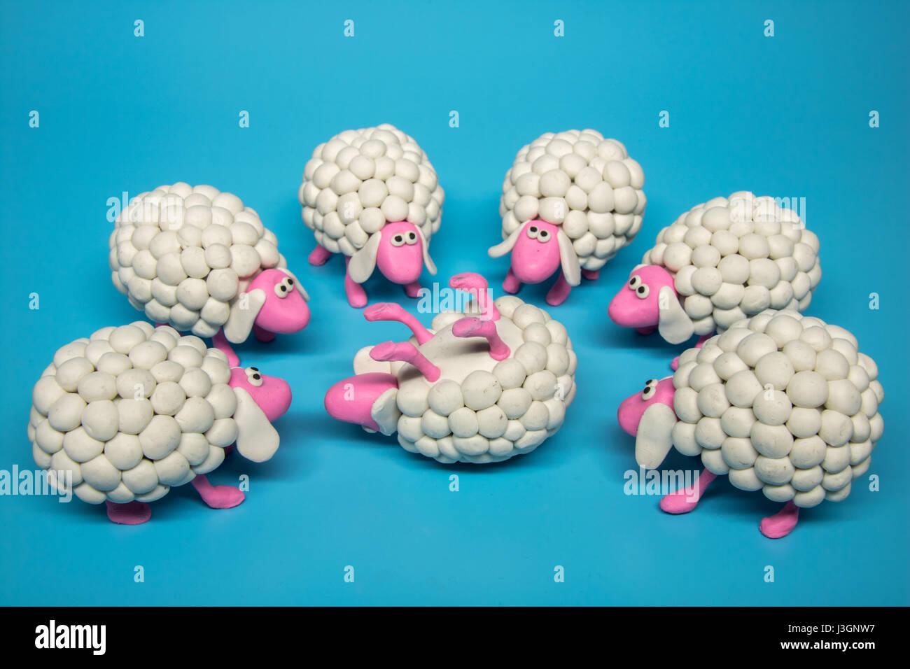 Konzept - eine Gruppe der weißen Schafe versammeln sich im Kreis um ein einzelnes weißes Schaf, liegend Stockbild
