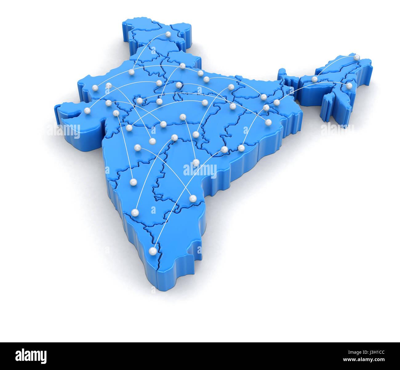 Flugrouten Karte.Karte Von Indien Mit Flugrouten Bild Mit Beschneidungspfad