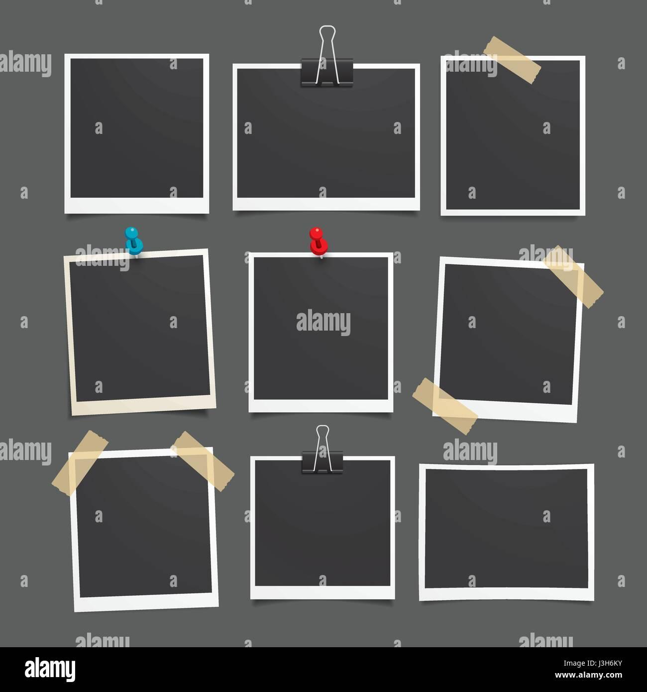 Vektor-Fotorahmen. Satz von realistischen Papier Foto. Vorlage ...