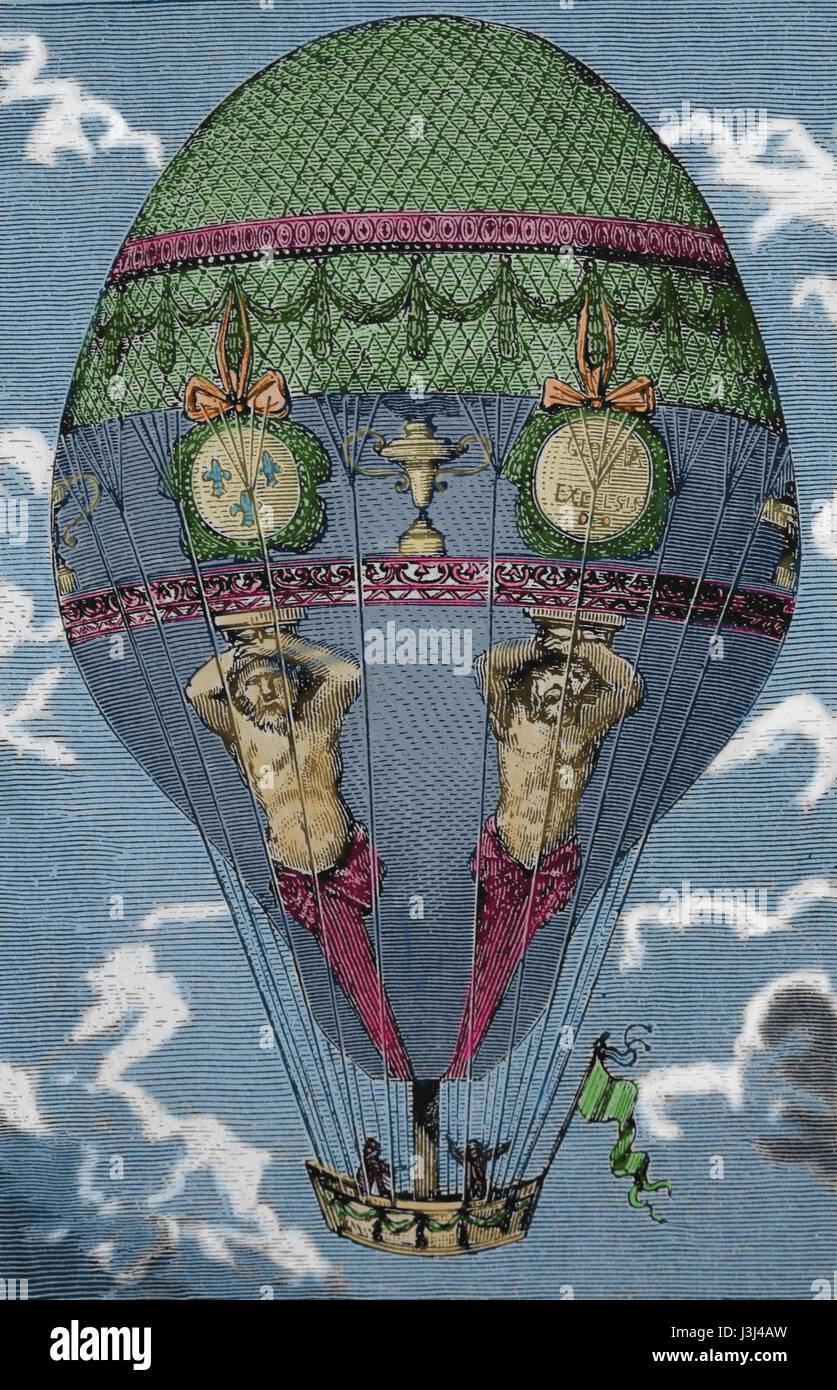 Zu transportieren. 18. Jahrhundert. Heißluft-Ballonfahrt. Kupferstich, 19. Jahrhundert. Stockbild