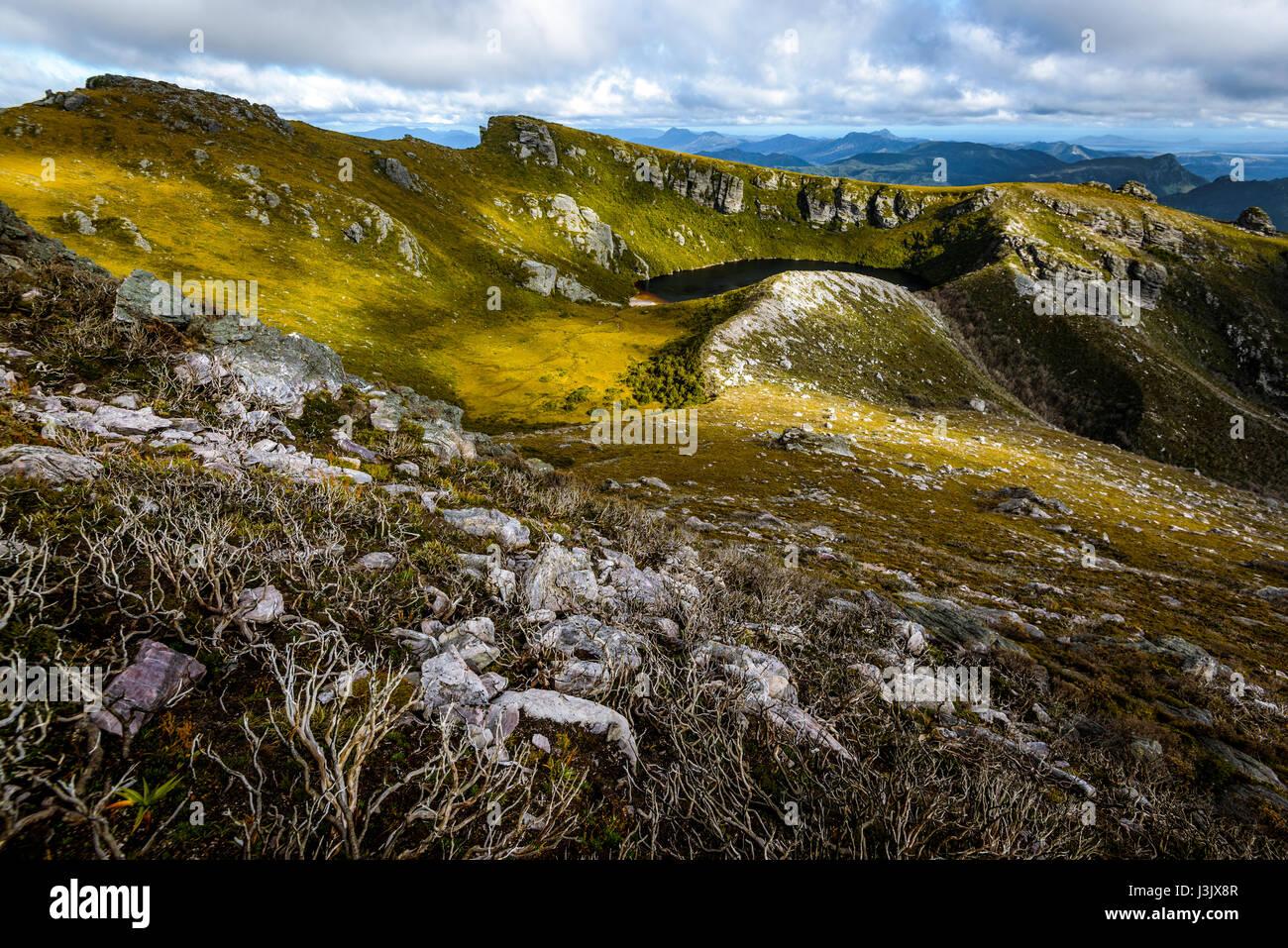 Fortuna See im westlichen Arthur Range, Südwesten Tasmanien Stockbild