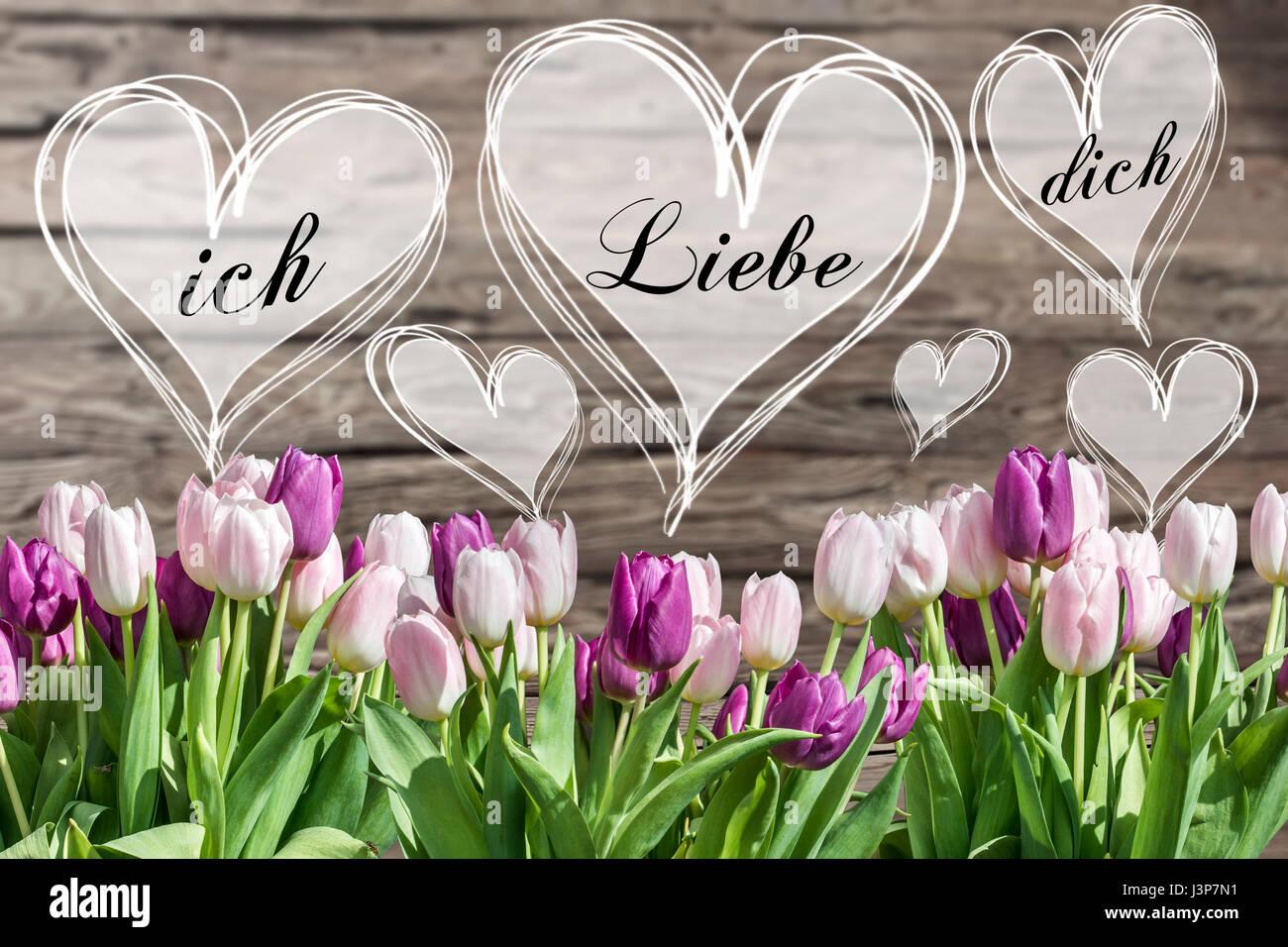 Bouquet von weißen und rosa Tulpen und Herz-Rahmen mit deutschen ...