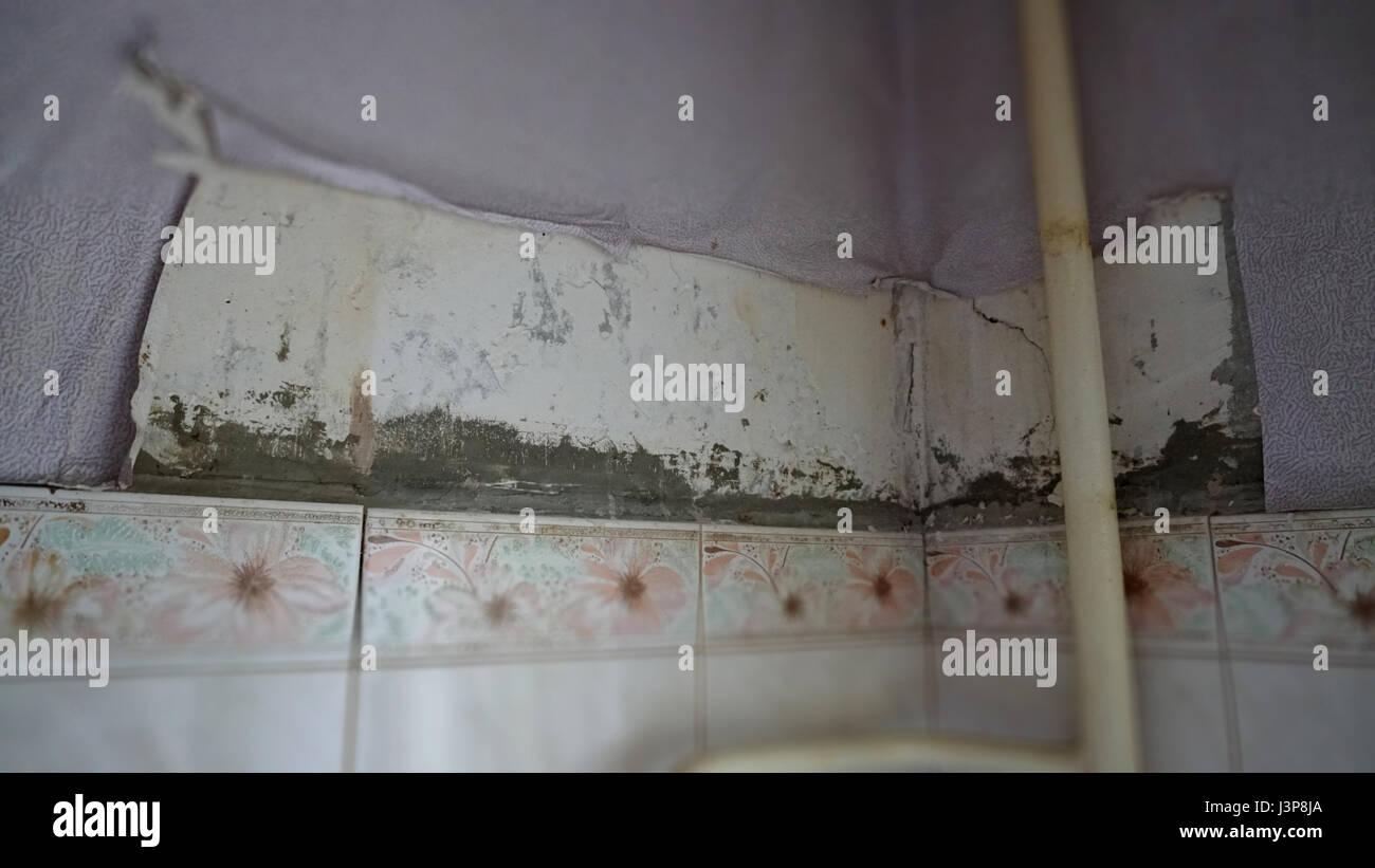 Tapete Reparieren zerrissene tapeten in der küche. alte zu reparieren stockfoto, bild