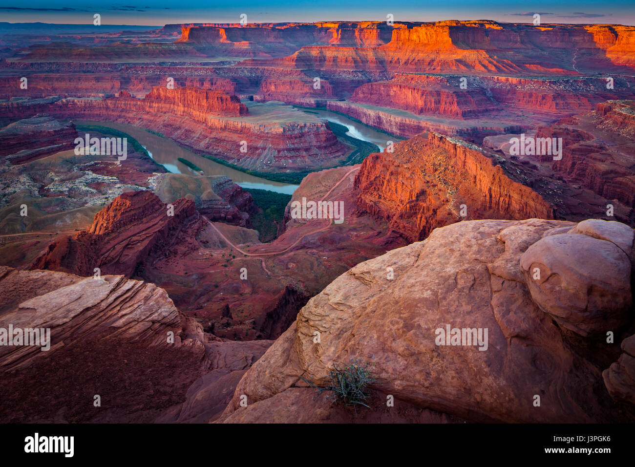 Dead Horse Point State Park ist ein State Park von Utah in den Vereinigten Staaten, mit einer dramatischen Überblick Stockbild